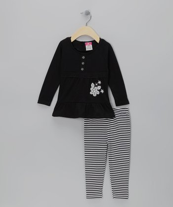 Black Stripe Flower Tunic & Leggings - Infant