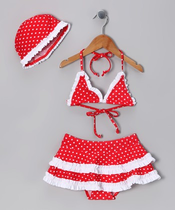 Red & White Polka Dot Skirted Bikini & Beanie - Toddler & Girls