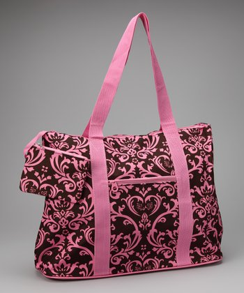 Pink & Brown Damask Beach Bag & Coin Purse