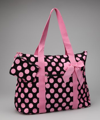 Pink & Black Polka Dot Beach Bag & Coin Purse