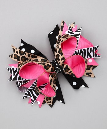 Pink Cheetah Safari Bow