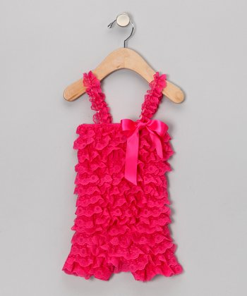 Fuchsia Lace Ruffle Romper - Infant & Toddler