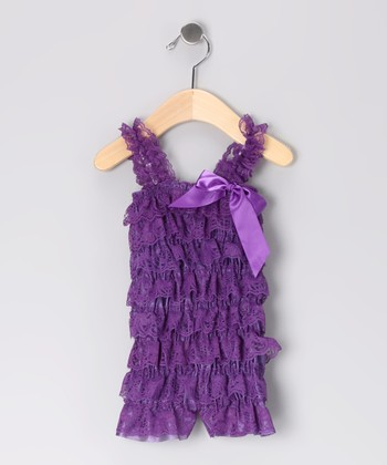 Purple Lace Ruffle Romper - Infant & Toddler