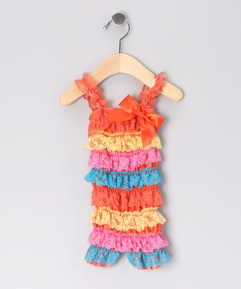 Orange Rainbow Lace Ruffle Romper - Infant & Toddler