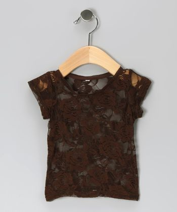 Brown Lace Top - Infant, Toddler & Girls