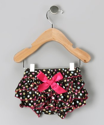 Black & Pink Polka Dot Ruffle Diaper Cover - Infant