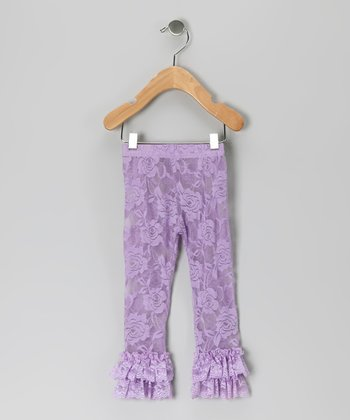 Purple Lace Ruffle Leggings - Infant, Toddler & Girls