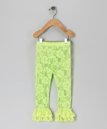 Lime Green Lace Ruffle Leggings - Infant, Toddler & Girls