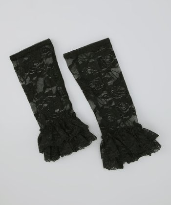 Black Lace Ruffle Leg Warmers