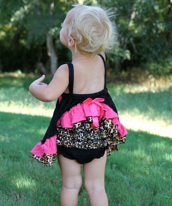 Black Cheetah Tunic & Diaper Cover - Infant