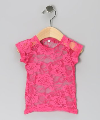 Hot Pink Lace Top - Infant, Toddler & Girls