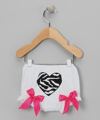 White Zebra Heart Diaper Cover