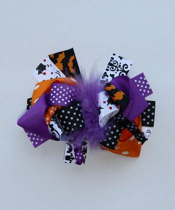 Purple & Orange Spooky Bow Clip