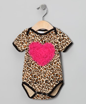 Hot Pink Cheetah Ruffle Heart Bodysuit - Infant