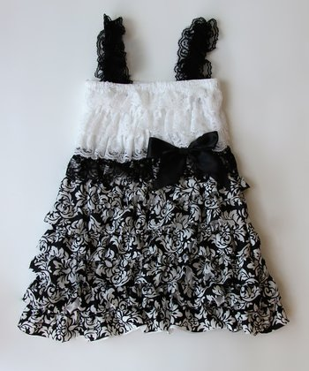 Black & White Damask Lace Ruffle Dress - Toddler