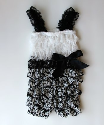 Black & White Damask Lace Ruffle Romper - Infant, Toddler & Girls