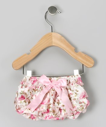 Pink Vintage Rose Ruffle Diaper Cover - Infant