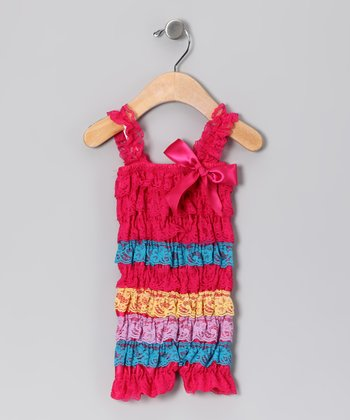 Hot Pink & Blue Lace Ruffle Romper - Infant, Toddler & Girls