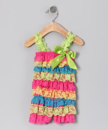 Lime Rainbow Lace Ruffle Romper - Infant, Toddler & Girls
