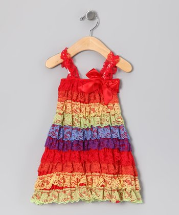 Red Rainbow Lace Ruffle Dress - Infant