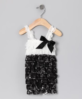 White & Black Lace Ruffle Romper - Infant, Toddler & Girls