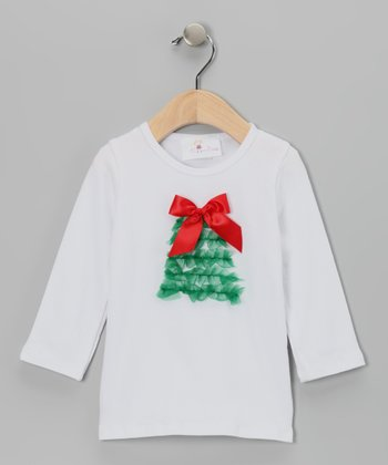 White Ruffle Christmas Tree Tee - Infant & Toddler