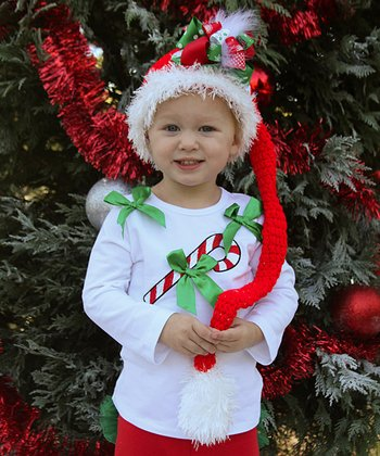 White Candy Cane Bow Tee - Infant & Toddler