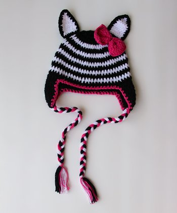 Black & White Stripe Earflap Beanie