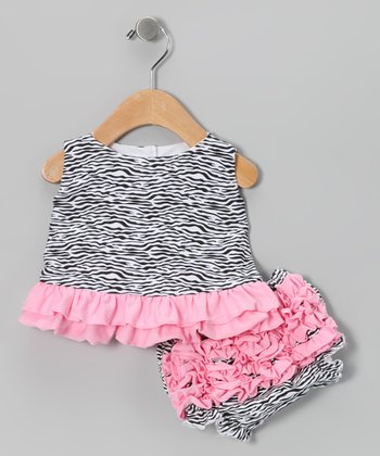 Light Pink Zebra Ruffle Swing Top & Diaper Cover - Infant