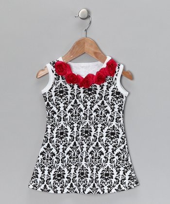 Black & White Damask Dress - Infant