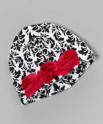 Black & White Damask Beanie - Infant