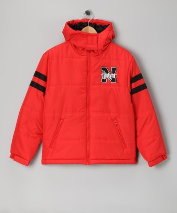 Division 1 Red Nebraska Puffer Coat - Kids