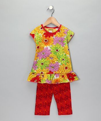 Neon Flower Tunic & Leggings - Toddler & Girls