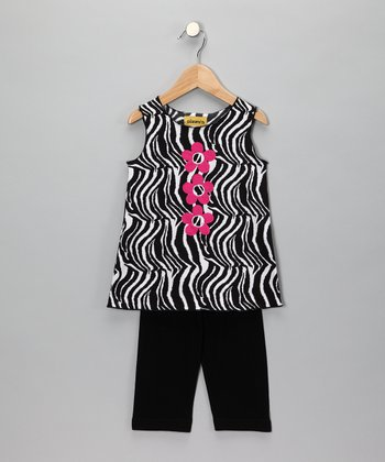 Black & Pink Zebra Tunic & Leggings - Infant, Toddler & Girls
