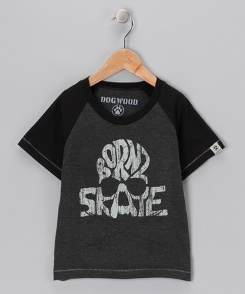 Black 'Born 2 Skate' Raglan Tee - Toddler & Kids