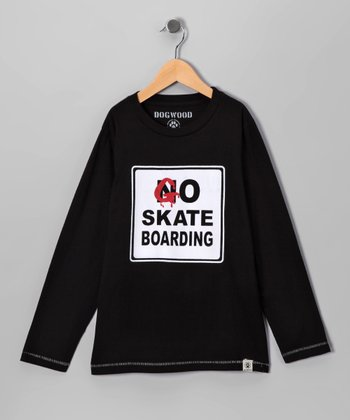 Black 'Go Skateboarding' Tee - Toddler & Boys