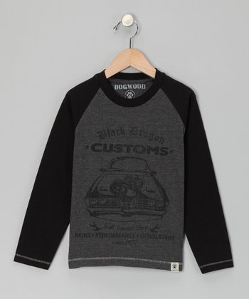 Black 'Dragons' Raglan Tee - Toddler & Boys