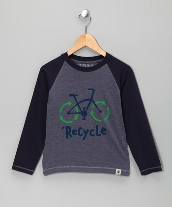 Navy 'Recycle' Raglan Tee - Infant, Toddler & Kids