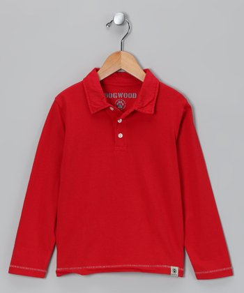 Red Long-Sleeve Polo - Toddler & Boys