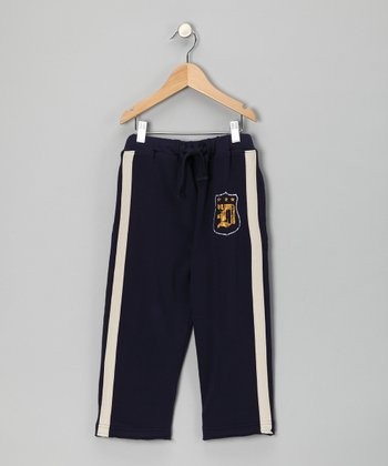 Navy Stripe 'D' Sweatpants - Infant
