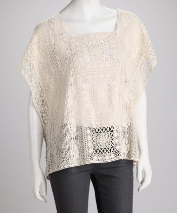 Alabaster Embroidered Cape-Sleeve Top