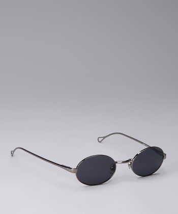 Shiny Gunmetal Circle Sunglasses