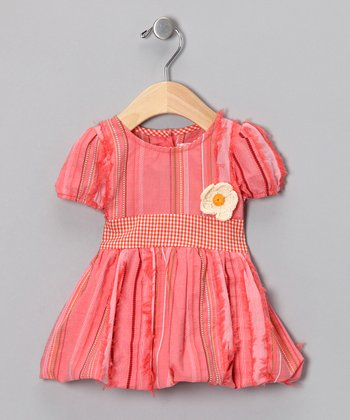 Coral Stripe Bubble Dress - Toddler