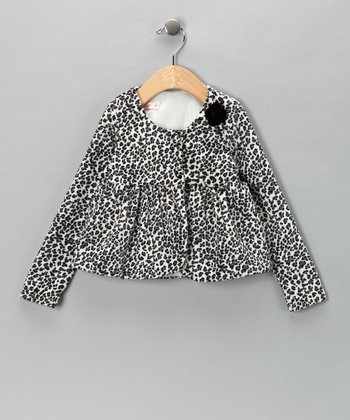 White Leopard Velvet Jacket - Infant & Toddler