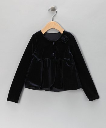Navy Velvet Jacket - Infant & Toddler
