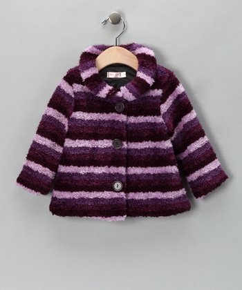 Purple Stripe Plush Jacket - Infant & Toddler