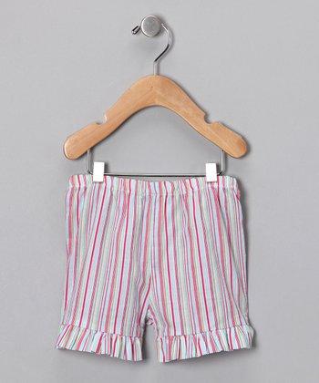 Pink Stripe Ruffle Shorts - Infant, Toddler & Girls