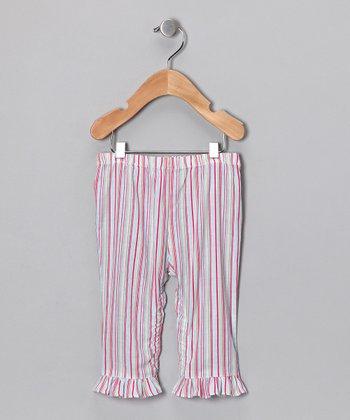 Pink Stripe Ruffle Pants - Infant, Toddler & Girls