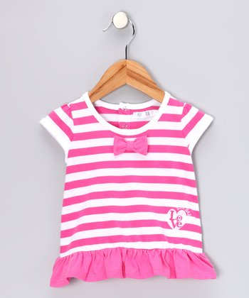 Pink Stripe 'Love' Top - Infant & Toddler