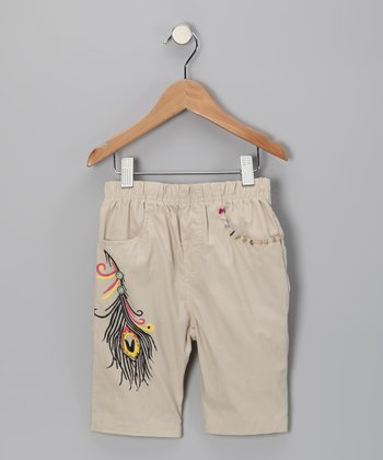 Khaki Peacock Cropped Pants - Girls